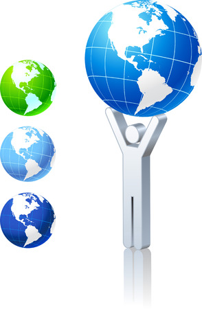 Globe collection with stick figure Original Vector Illustration Globes and Maps Ideal for Business Concepts  Illustration