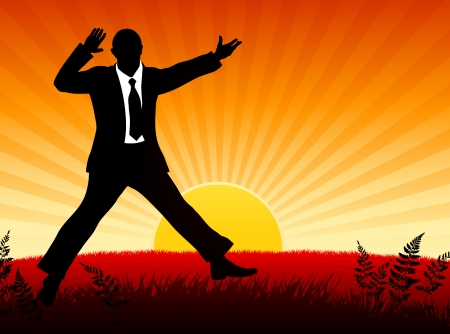 Excited Businessman on Sunset Background Origianl Vector Illustration Businessman Ideal for Business Concept Vector