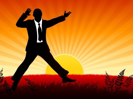 Excited Businessman on Sunset Background Origianl Vector Illustration Businessman Ideal for Business Concept Ilustração