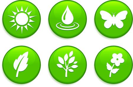 環境の緑色のボタン元のベクトル図Buttons コレクション