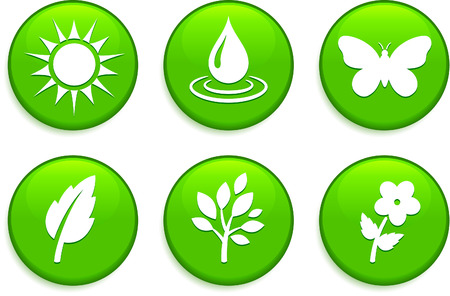 drops of water: Green Environmental Buttons Original Vector Illustration Buttons Collection