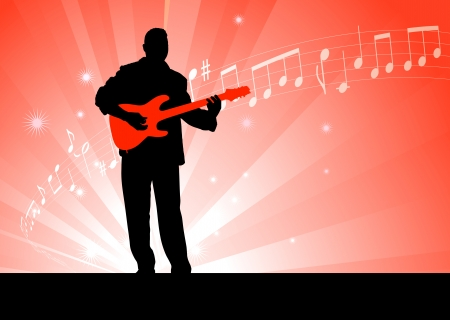 Guitar Player on Red Background Original Vector Illustration  Music Player Ideal for Live Music Concept