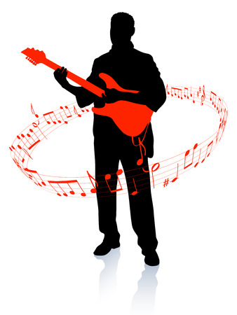 Guitar player Original Vector Illustration  Music Player Ideal for Live Music Concept