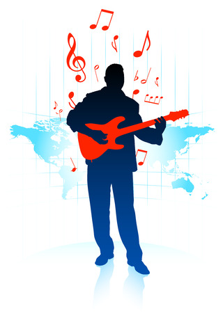 Guitar player on world map backgroundOriginal Vector Illustration Music Player Ideal for Live Music Concept