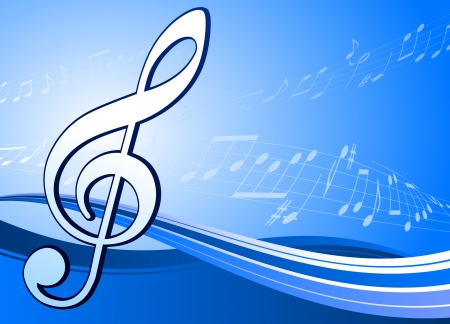 Musical note on abstract blue background Original Vector Illustration Musical Note Ideal of Music Background