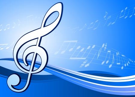 Muzikale noot op abstracte blauwe achtergrond Originele vector illustratie muzieknoot Ideal of Music Achtergrond