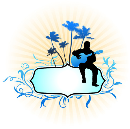 Guitar player on abstract frame backgroundOriginal Vector Illustration Music Player Ideal for Live Music Concept