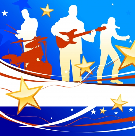 Musical Band on Patriotic Background Original Vector Illustration  Musical Band Ideal for Live Music Concept Vector
