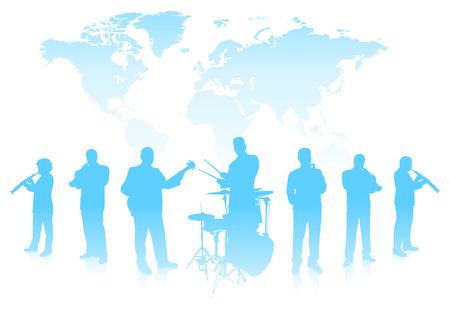 Banda Musicale su World background Illustrazione vettoriale originale Banda Musicale Ideale per Live Music Concept