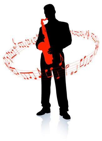 Saxophone player with musical notesOriginal Vector Illustration Music Player Ideal for Live Music Concept