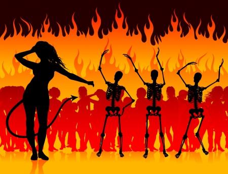 Party in Hell Original Vector Illustration Devil and Skeletons in Hell Background Ilustração