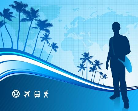 reiziger: jonge reiziger met tropische wereld kaart Oorspronkelijke vector illustratie Reizen Around The World Ideaal voor zakelijke concepten Stock Illustratie