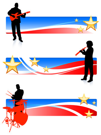 Musical Band with Patriotic Banners Original Vector Illustration  Musical Band Ideal for Live Music Concept