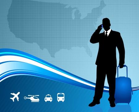 back lit: Viajero de negocios con Estados Unidos y la ilustraci�n original de vector viajando alrededor del mundo ideal para los conceptos de negocio