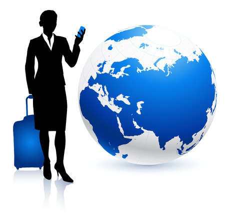 woman on phone: Businesswoman traveler with Globe Original Vector Illustration Traveling Around The World Ideal for business concepts Illustration