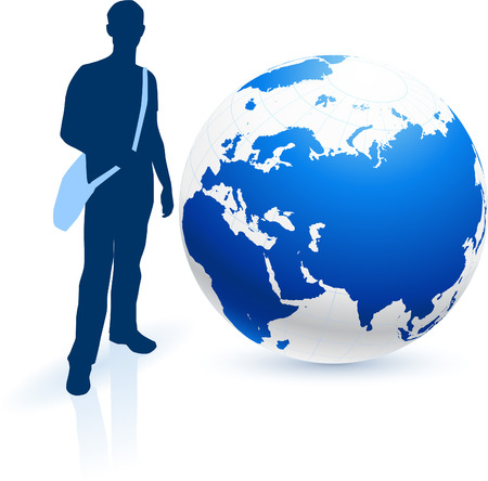 digitally generated image: Traveler with Globe Original Vector Illustration Globes and Maps Ideal for Business Concepts