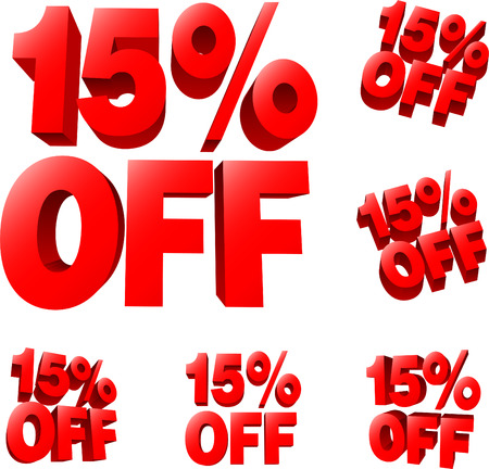 15% off Discount sale sign. 3D vector illustration. AI8 compatible. 向量圖像
