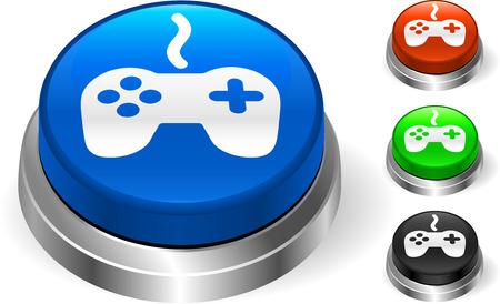Controller on Internet ButtonOriginal Vector IllustrationThree Dimensional Buttons