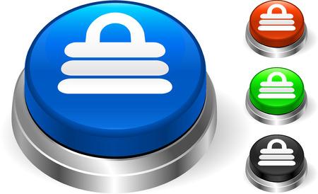 Lock Icon on Internet Button Original Vector Illustration Three Dimensional Buttons Vector