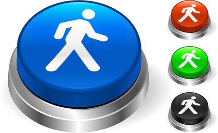 Walking Icon on Internet Button Original Vector Illustration Three Dimensional Buttons Ilustração