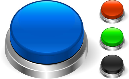 Blue Button Original Vector Illustration Three Dimensional Buttons