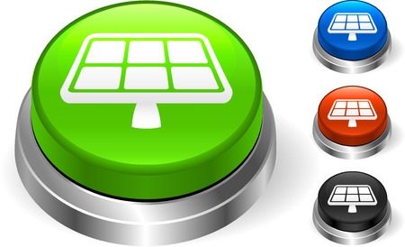 Solar Panel Icon on Internet Button Original Vector Illustration Three Dimensional Buttons Vector