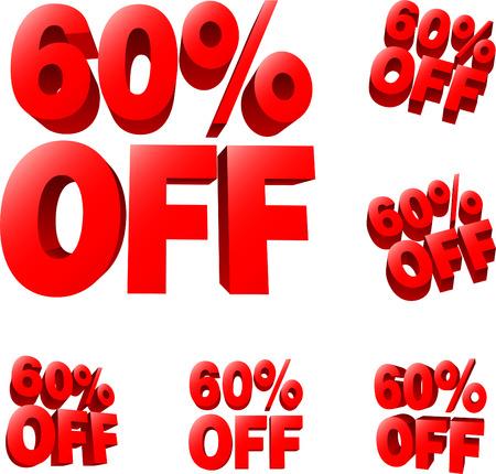 liquidation: 60% off Discount sale sign. 3D vector illustration. AI8 compatible.
