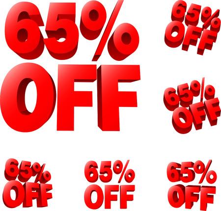 65% off Discount sale sign. 3D vector illustration. AI8 compatible.