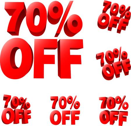 impressive: 70% off Discount sale sign. 3D vector illustration. AI8 compatible.