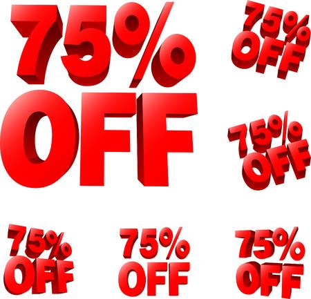 75% off Discount sale sign. 3D vector illustration. AI8 compatible.