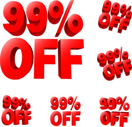 liquidation: 99% off Discount sale sign. 3D vector illustration. AI8 compatible. Illustration