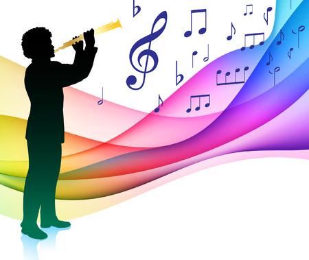 clarinet: Jugador de flauta en la nota musical del espectro de color Ilustraci�n original del vector