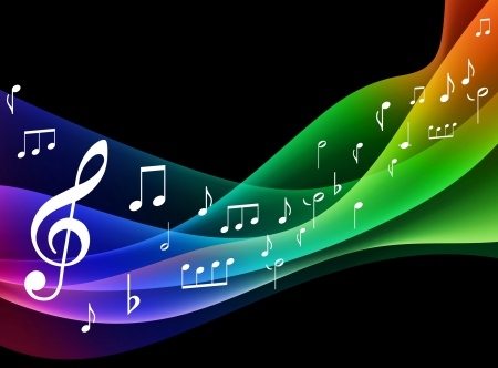 music background: Color Spectrumwave with Musical Notes Original Vector Illustration
