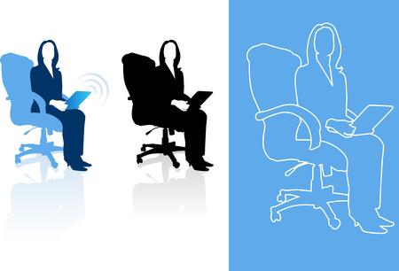 palmtop: Original Vector Illustration: Young business woman silhouettes AI8 compatible  Illustration