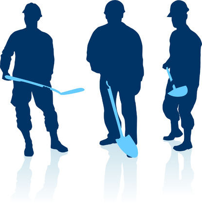 Original Vector Illustration: construction workers silhouette