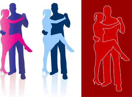 Original Vector Illustration: Tango dancers in silhouette AI8 compatible