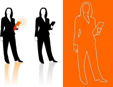 compatible: Illustration originale de vecteur: Jeune femme d'affaires silhouettes AI8 compatible