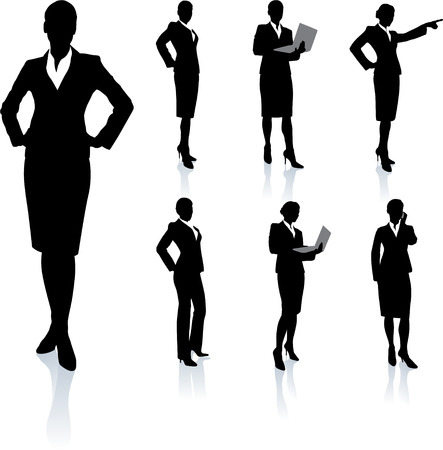 Businesswoman Silhouette Collection Original Vector Illustration People Silhouette Sets Vector