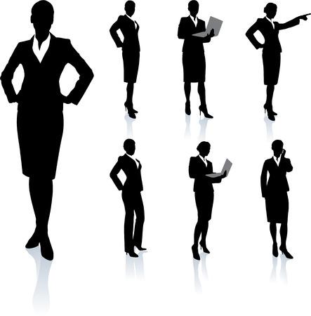 businesswoman suit: Colecci?n de silueta de empresaria Ilustraci?n original de vector Conjuntos de silueta de personas
