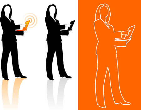 palmtop: Original Vector Illustration: Young business woman silhouettes AI8 compatible  Illustration