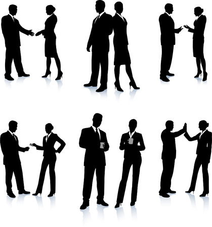 backlit: Business Team Silhouette Collection Original Vector Illustration People Silhouette Sets
