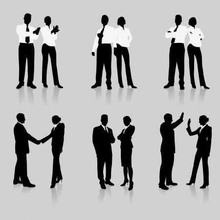 couple lit: Business Team Silhouette Collection Original Vector Illustration People Silhouette Sets