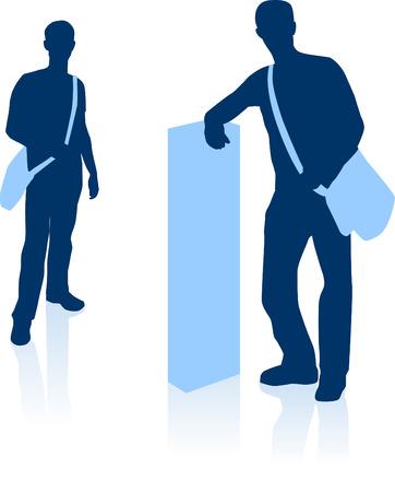 Oorspronkelijke vector illustratie: Knappe jonge mens met plunjezak in silhouet AI8 compatibel