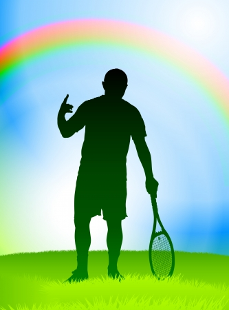 Tennis Player on Rainbow Background Original Vector Illustration