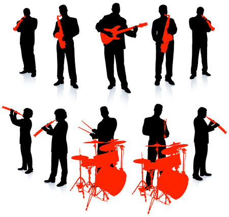 Live Music Band Collection Original Vector Illustration People Silhouette Sets Vector