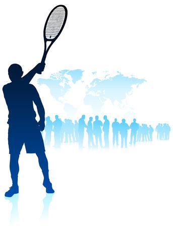 Tennis Player on World Map Background with CrowdOriginal Vector Illustration Stock Illustratie
