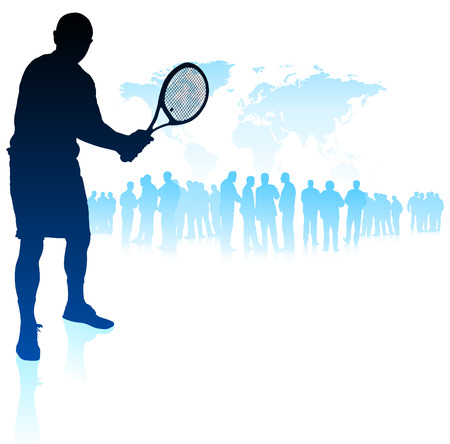 backhand: Tennis Player on World Map Background with Crowd Original Vector Illustration Illustration