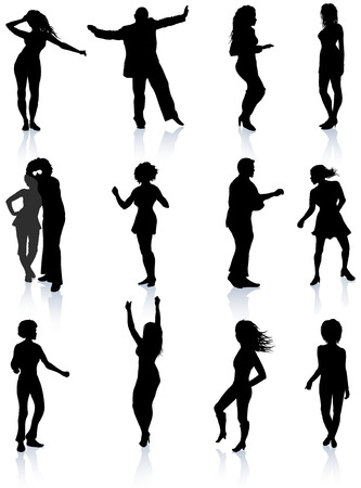 Party People Silhouette Collection Illustrazione vettoriale originale Persone Silhouette Sets Archivio Fotografico - 22431933