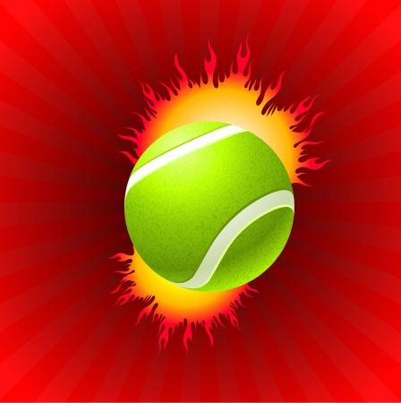 Tennis Ball on Red Background Original Vector Illustration Vector