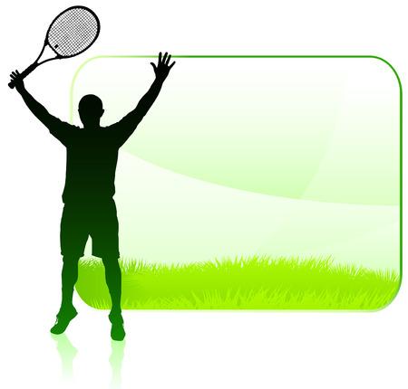 Tennis Player with Blank Nature FrameOriginal Vector Illustration